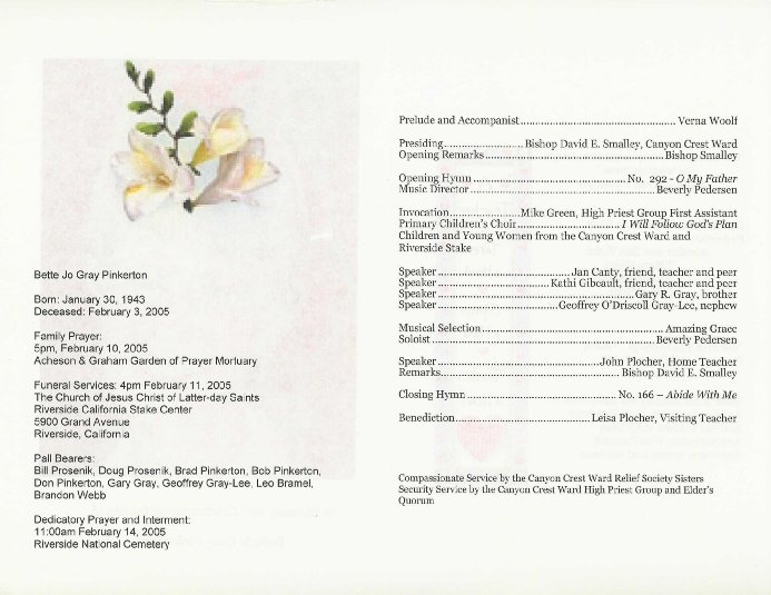 Printable Funeral Arrangements
